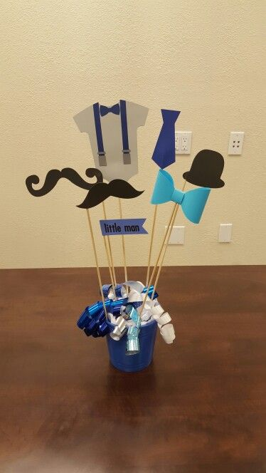 Diy Little Man Centerpieces With Images Little Man Birthday