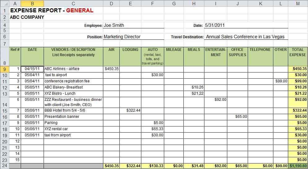 Reimbursement Template Excel from i.pinimg.com
