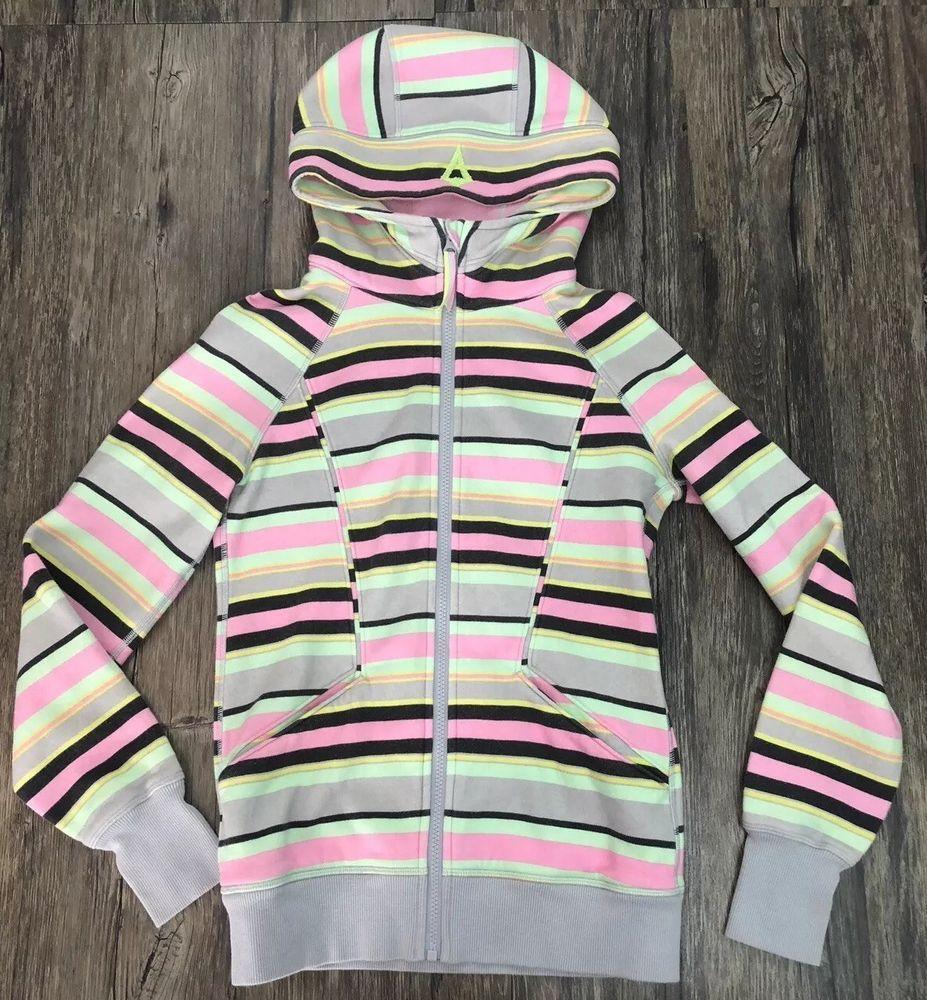34c72fdedfb805 Ivivva Remix Hoodie Jacket Striped Full Zip Thumbholes Sz 14 Girls 101C # ivivva