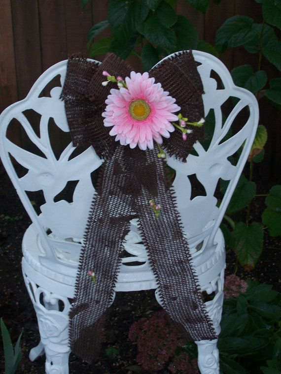 Pink Gerber Daisy and Brown Burlap Chair or Pew Bows by OneFunDay, $14.75