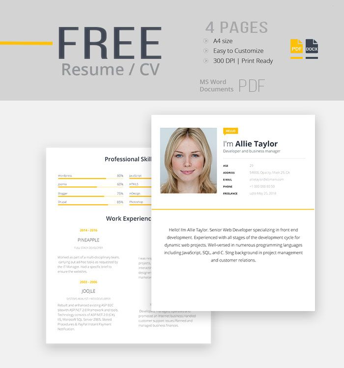Free Resume CV Template for Modern Look CV templates Pinterest - free resume word templates