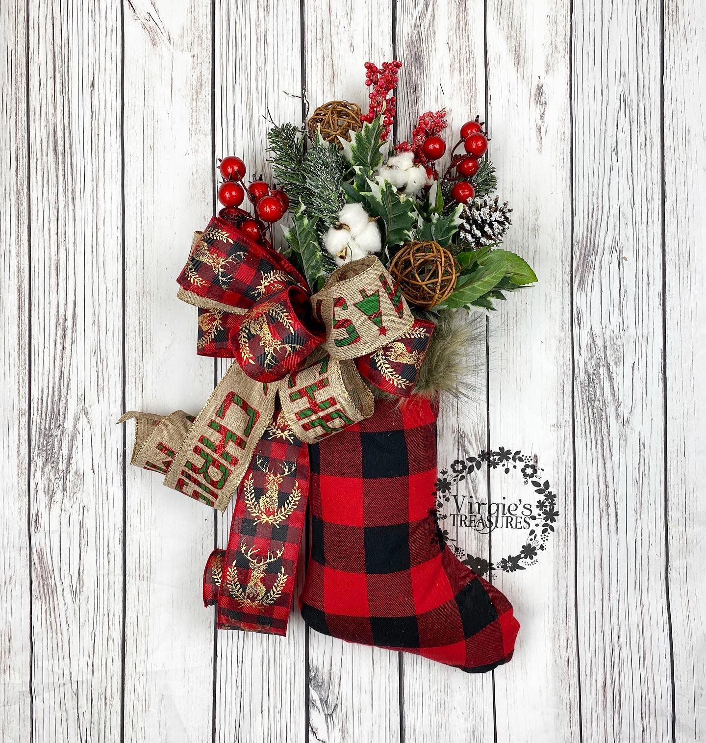 Christmas stocking decoration buffalo plaid stocking
