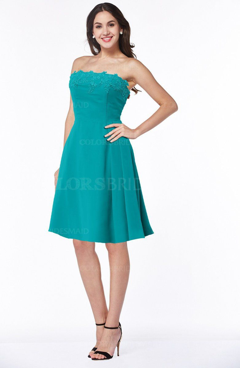 Teal Modern A-line Strapless Sleeveless Appliques Plus Size ...