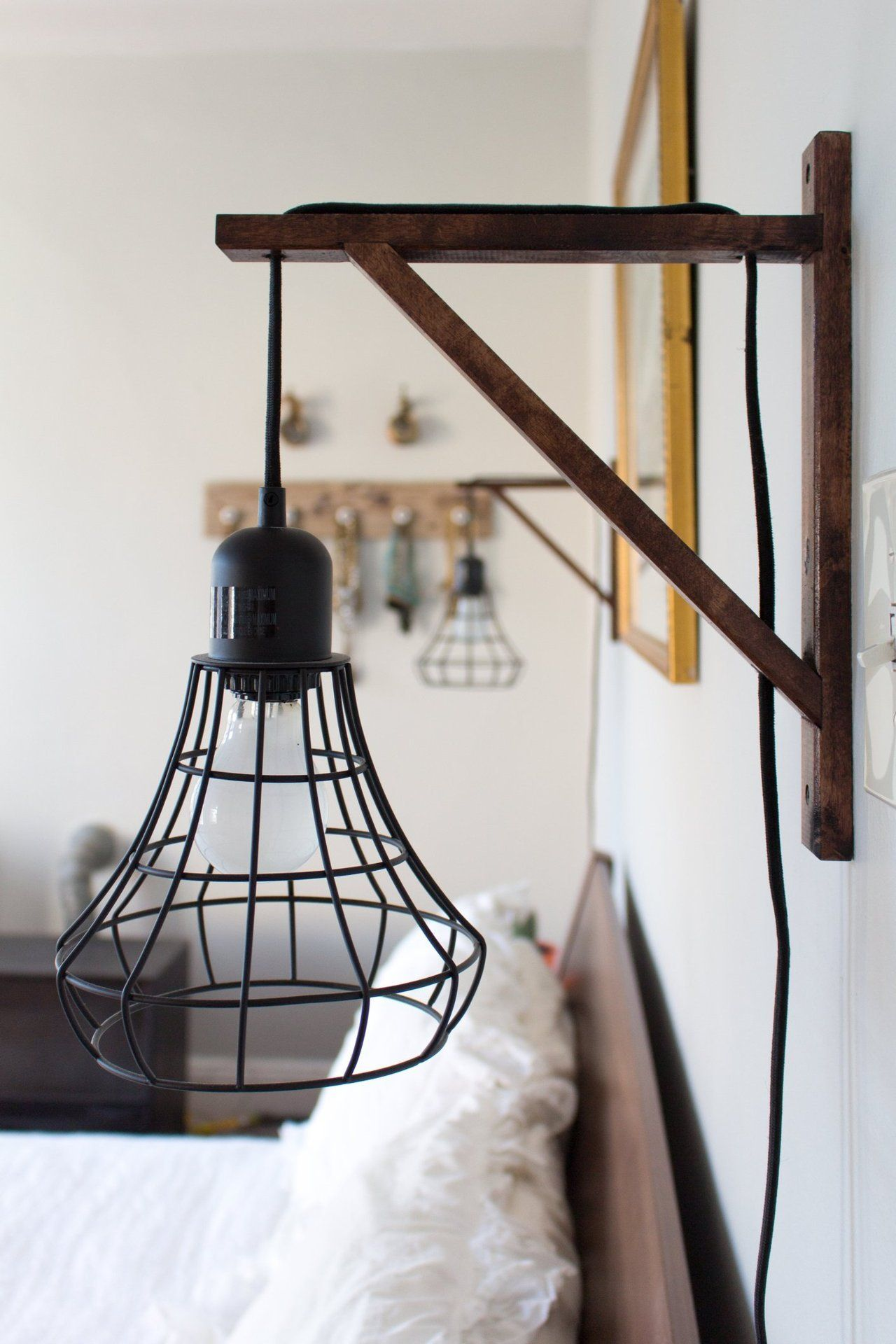 ikea pendant light wired through wooden support taylor alana s carefully crafted hoboken apartment [ 1280 x 1920 Pixel ]