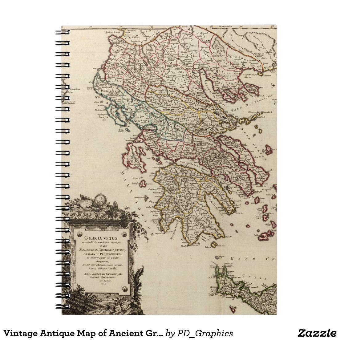 Vintage Antique Map of Ancient Greece Graecia Vetu Note Books