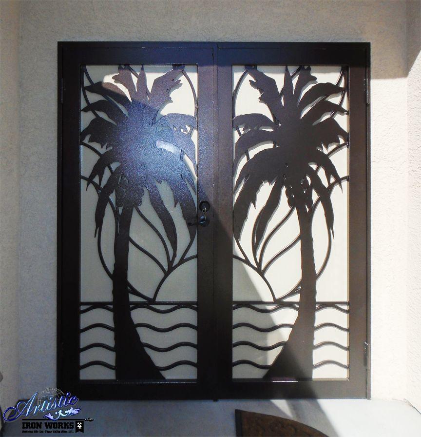 Sandy Beaches Double Door Wrought Iron Security - FD0108A herrería - choisir une porte d entree