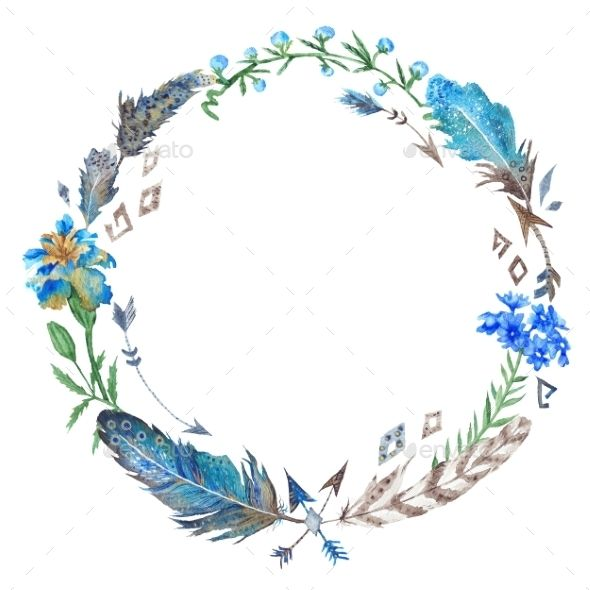 Boho Floral And Feather Wreath
