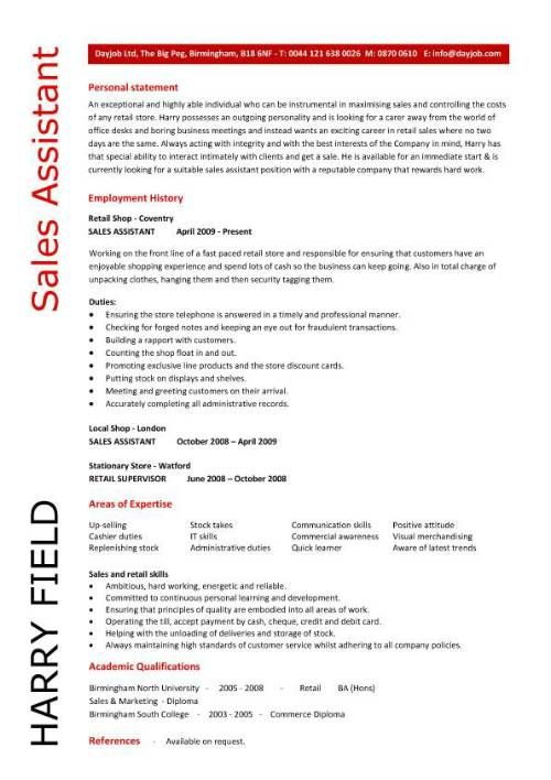 Sales assistant CV example, shop, store, resume, retail curriculum - profile statement for resume