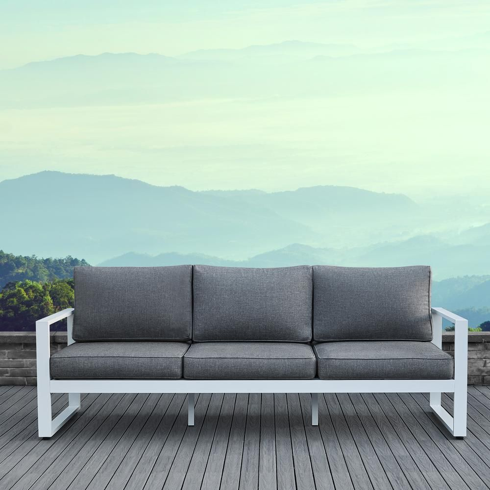 Real Flame Baltic White 1 Piece Aluminum Outdoor Sofa With Gray Cushions 9621 Wht The Home Depot
