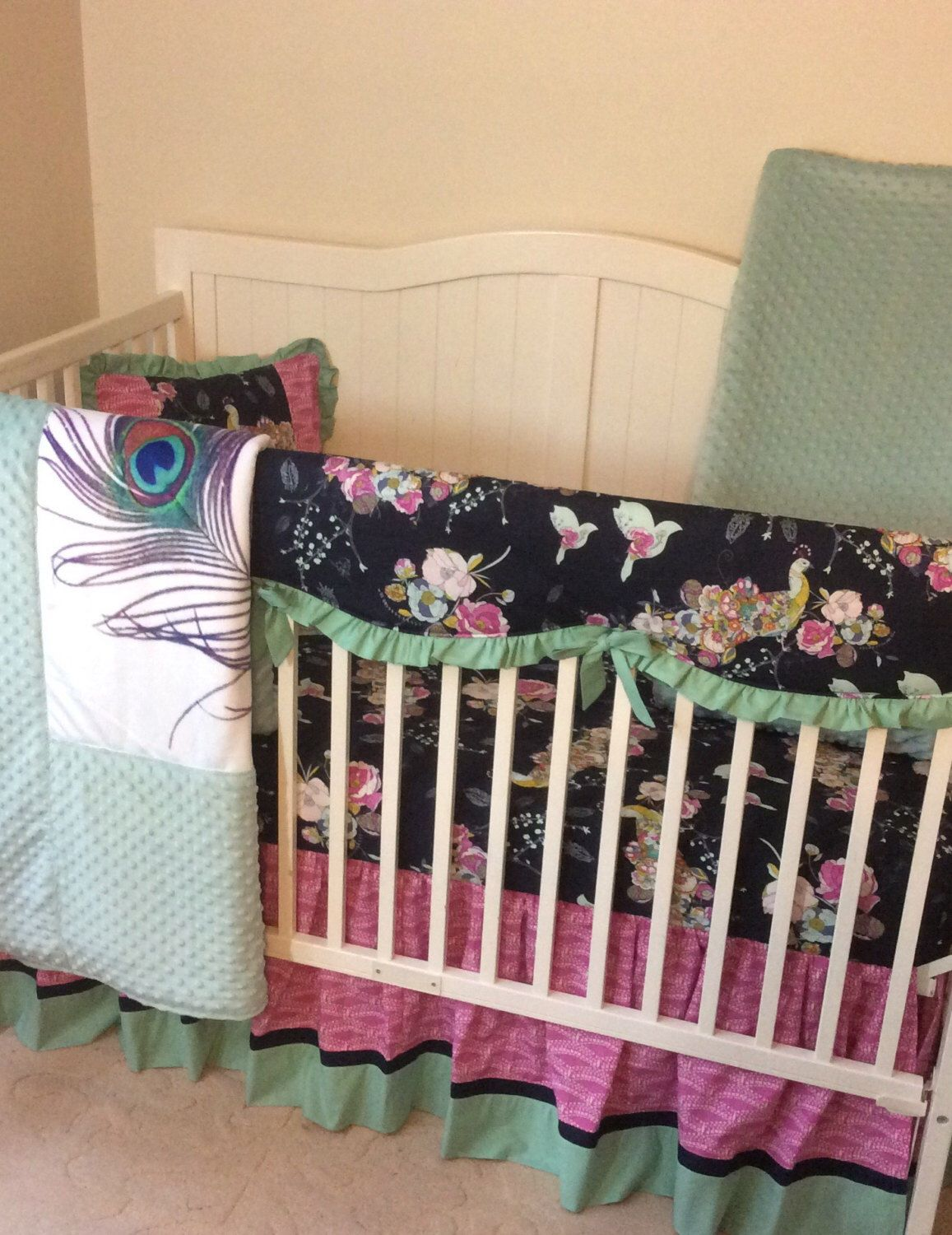 Peacock Baby Bedding Sets Part - 18: Navy teal and fuchsia peacock crib bedding for a baby girl  https:--www.etsy.com-listing-117738662-peacock-crib-bedding-set -teal-navy-and