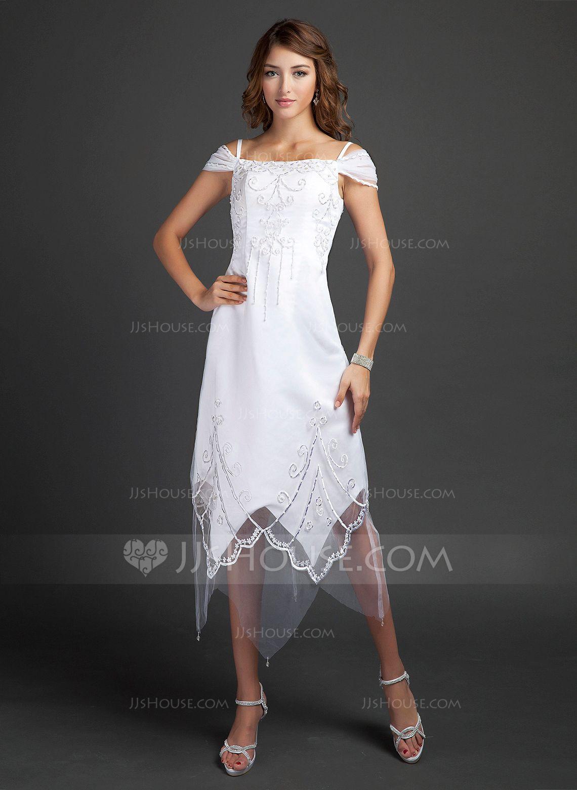 Off the shoulder tea length wedding dress  ALinePrincess OfftheShoulder TeaLength Satin Wedding Dress With