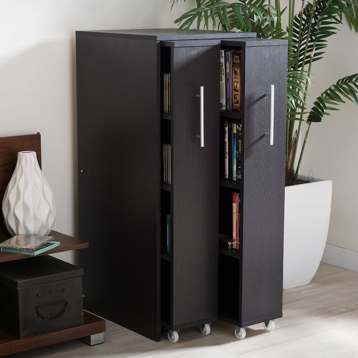Luxury Baxton Studio Lindo Bookcase and Dual Pull Out Shelving Cabinet
