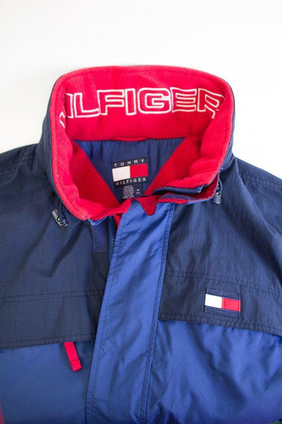 4ce1aee990 Vintage 90 s Tommy Hilfiger Navy Blue   Red - Ski Winter Parka ...