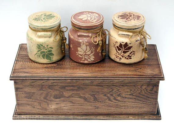 Glass Jars Kitchen Farmhouse Canisters Set 3 Storage Jars Coffee Cool Kitchen Jar Set Decorating Inspiration