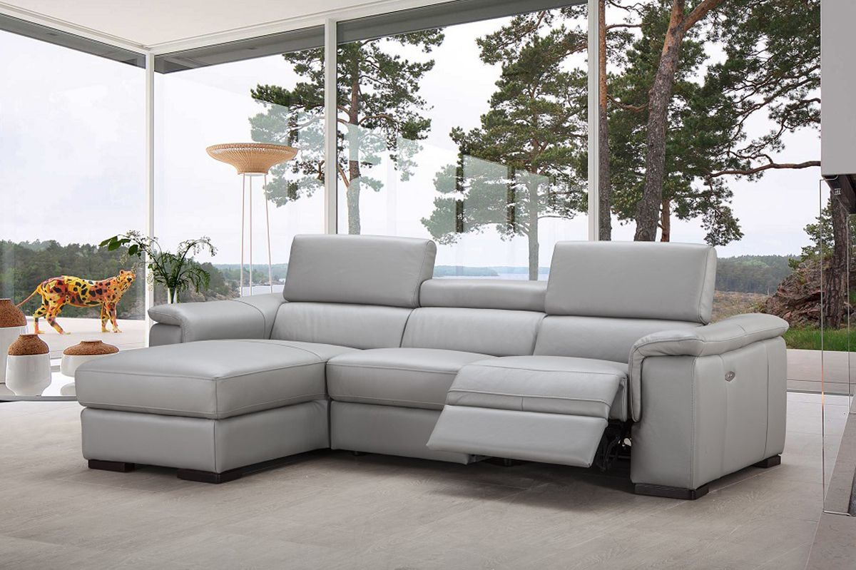 Unique Top Grain Leather Sectional Reclining Sectional Italian