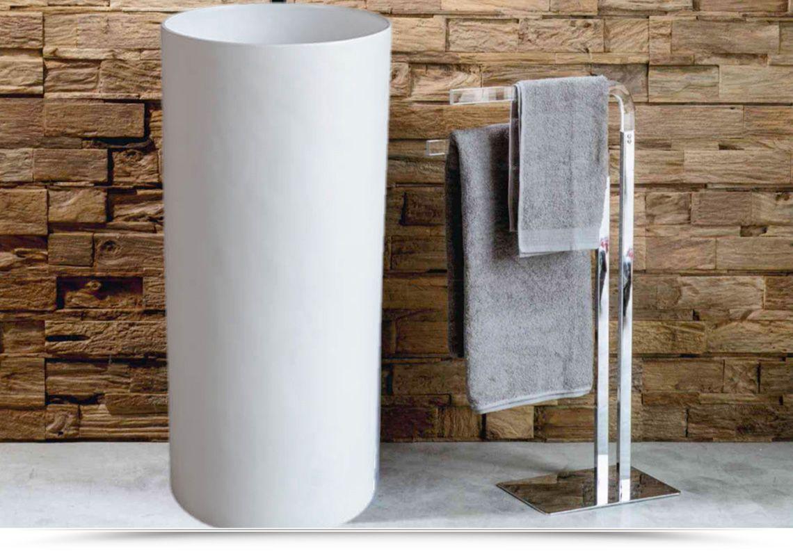 Lavabo A Colonna Design € 735 lavabo da terra altezza 90 cm resina bianca cilindro