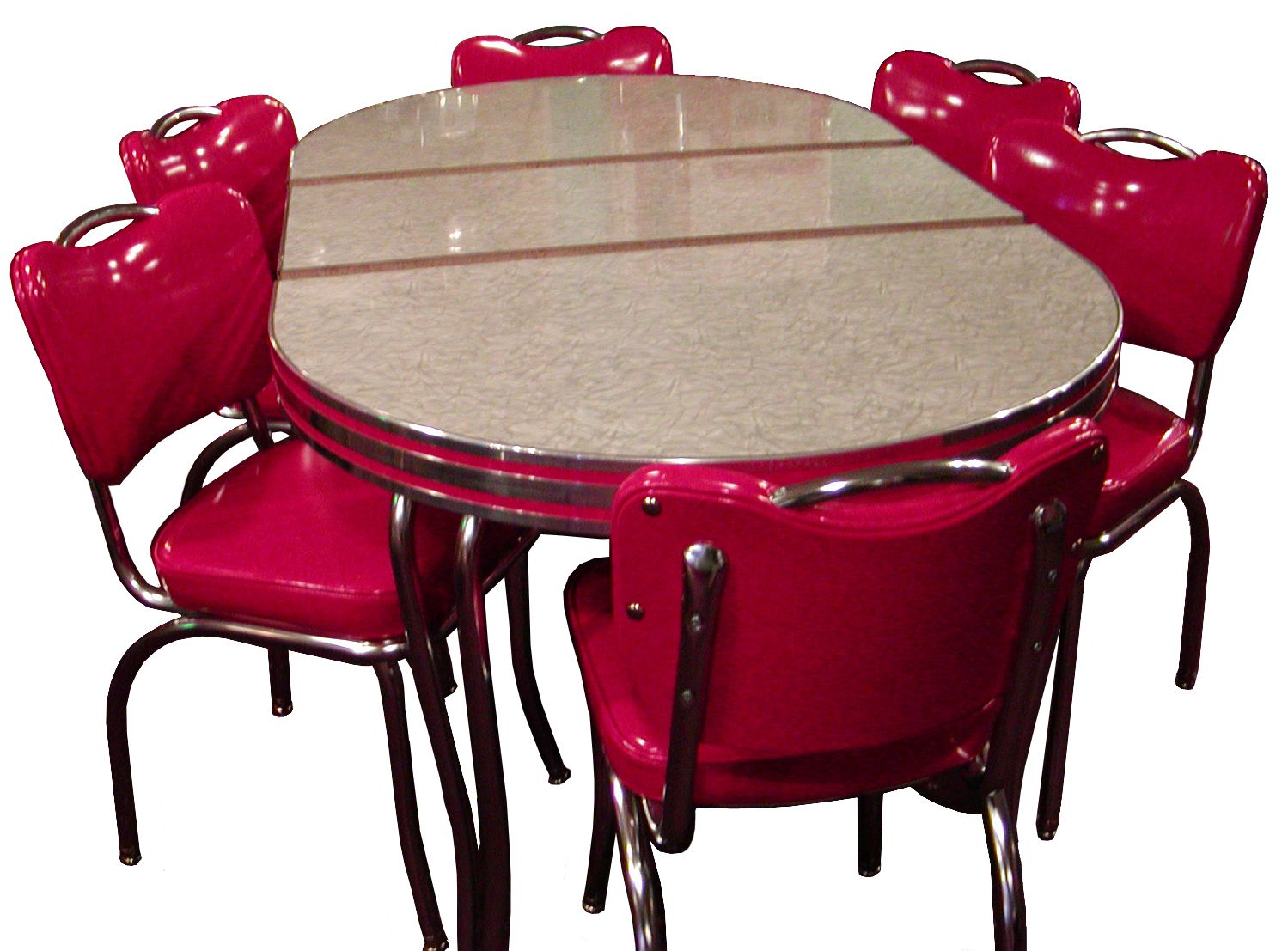 Retro Dining Room Sets: Cute Retro Dining Room Sets With Pink Dining Chairs  Made Of Shiny Leather And Grey Top Dining Table