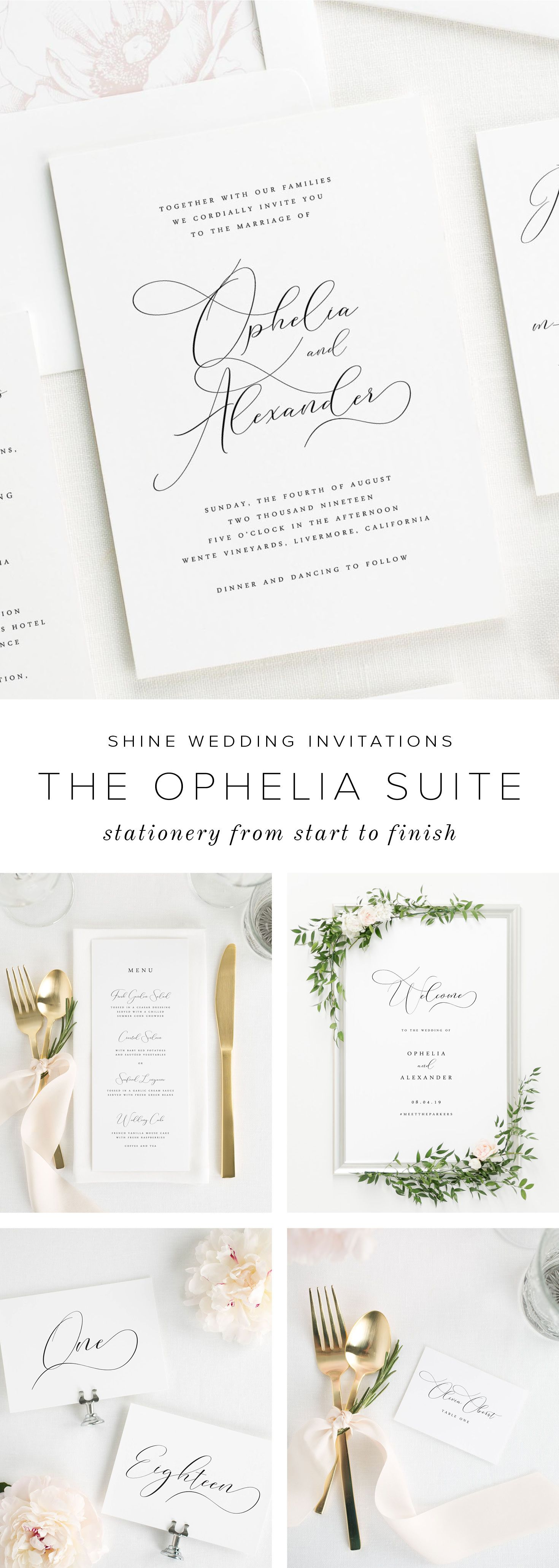 Ophelia Wedding Invitations is part of Timeless wedding invitations - A delicate calligraphyinspired font adds a touch of drama to these elegant Ophelia wedding invitations  Shown in black ink with a garden rose envelope liner and belly band in black