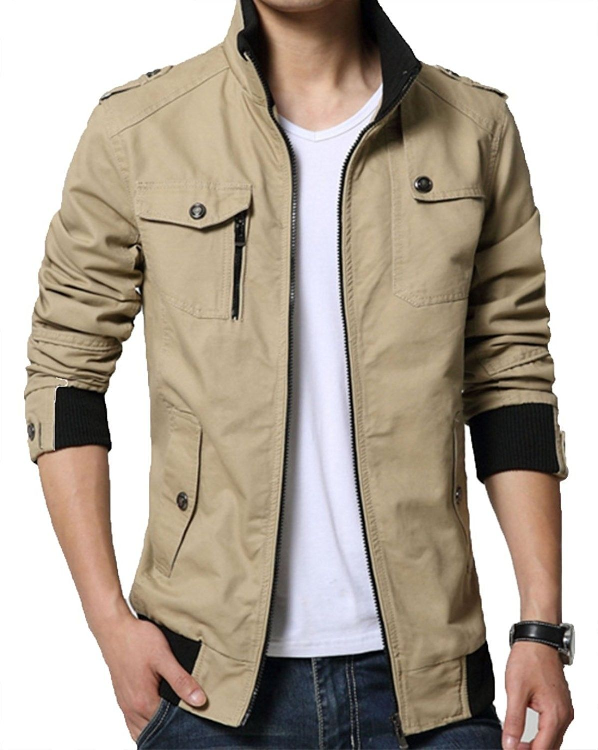 Men's Solid Cotton Casual Wear Stand Collar Jacket - Khaki - C212N2620V7   Jackets  men fashion, Stand collar jackets, Hipster mens fashion