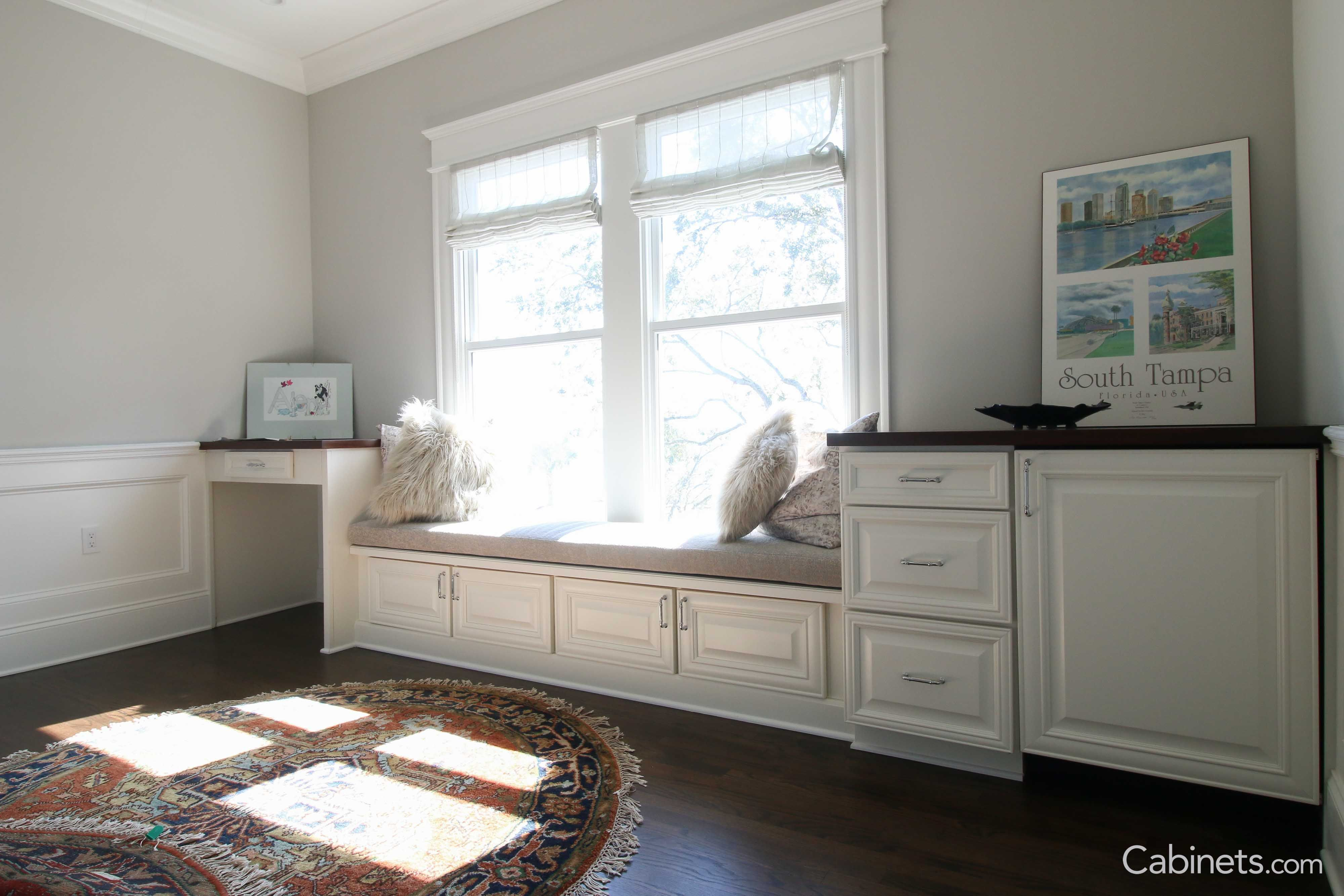 Grab A Book And Claim Your Window Seat With Calming Natural Light And Bright Cabinets Window Seat Built In Desk Cabinetry