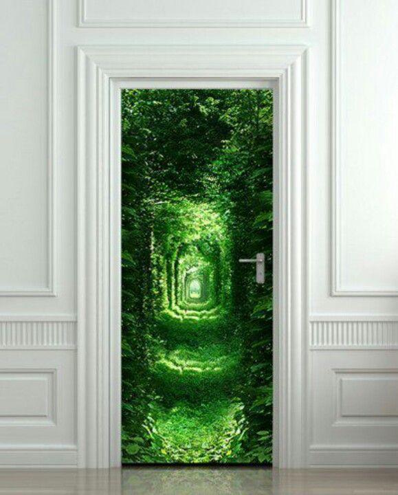 3D Garden Landscape Door Sticker Mural Photo Self adhesive Wall Sticker Decal