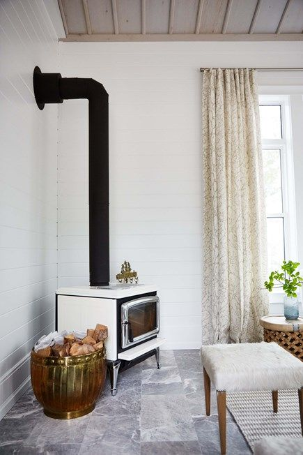 Image result for sarah richardson woodstove in off the grid house sun room - Shop the Room! Sarah Richardson's Ontario Living Room #woodstove #SarahRichardson