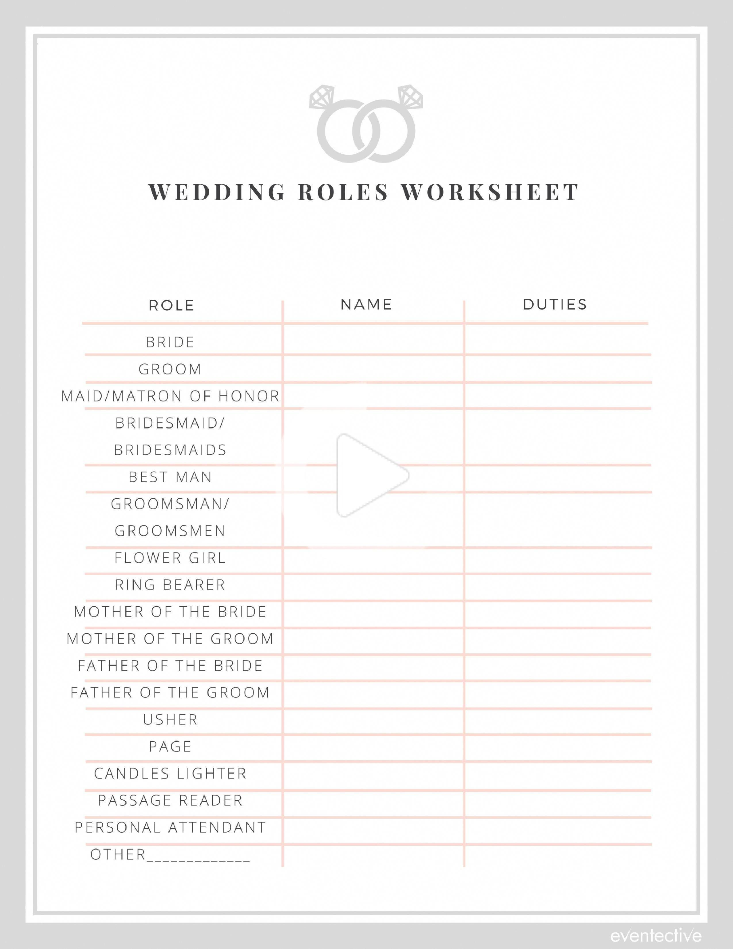 Roles De Mariage Feuille De Travail In