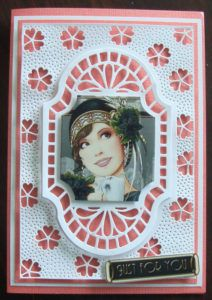 Sue Wilson New Zealand Background die with Bazzill Bling Perky coloured background - Art deco Debbi Moore picture