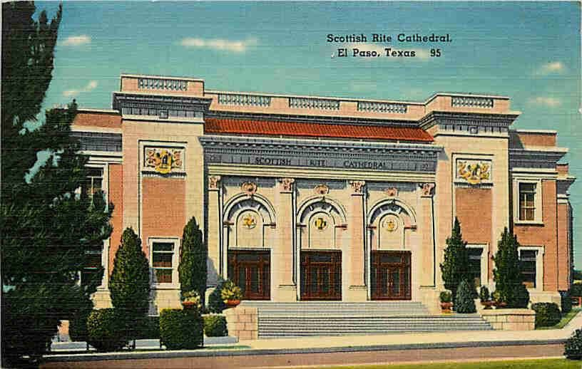 vintage postcard of Sottish Rite Temple, circa 1940's