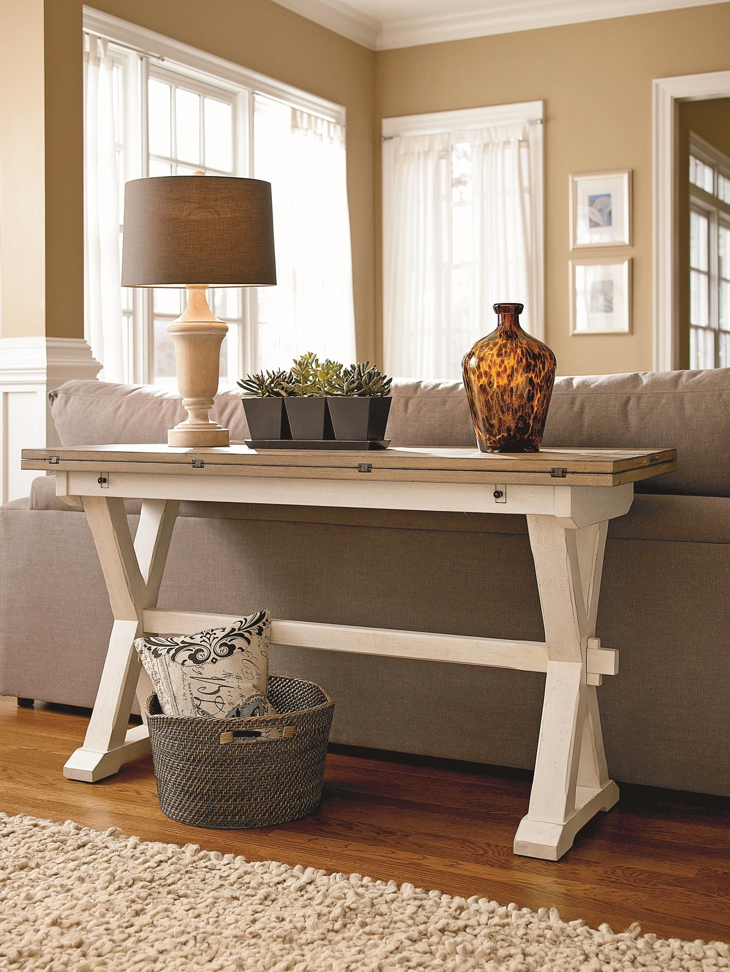 Curated Drop Leaf Console Table With X Shaped Pedestals By