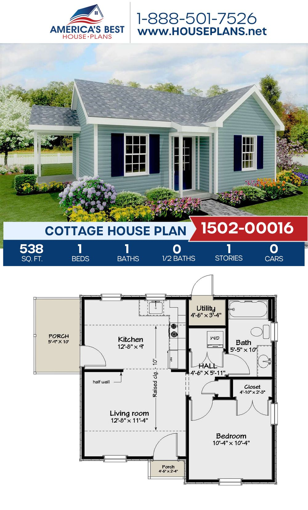 Plan 1502-00016 features a charming 538 sq. ft. Cottage home design complete with 1 bedroom, 1 bathroom, and an open floor plan. #cottagehome #cottagehouse #openfloorplan #architecture #houseplans #housedesign #homedesign #homedesigns #architecturalplans #newconstruction #floorplans #dreamhome #dreamhouseplans #abhouseplans #besthouseplans #newhome #newhouse #homesweethome #buildingahome #buildahome #residentialplans #residentialhome