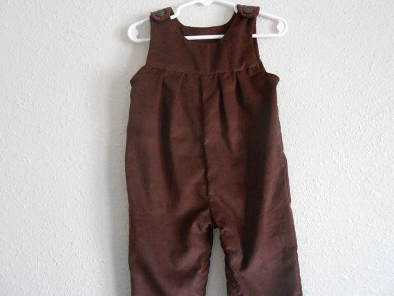 Vintage brown corduroy kids overalls toddler jumpsuit