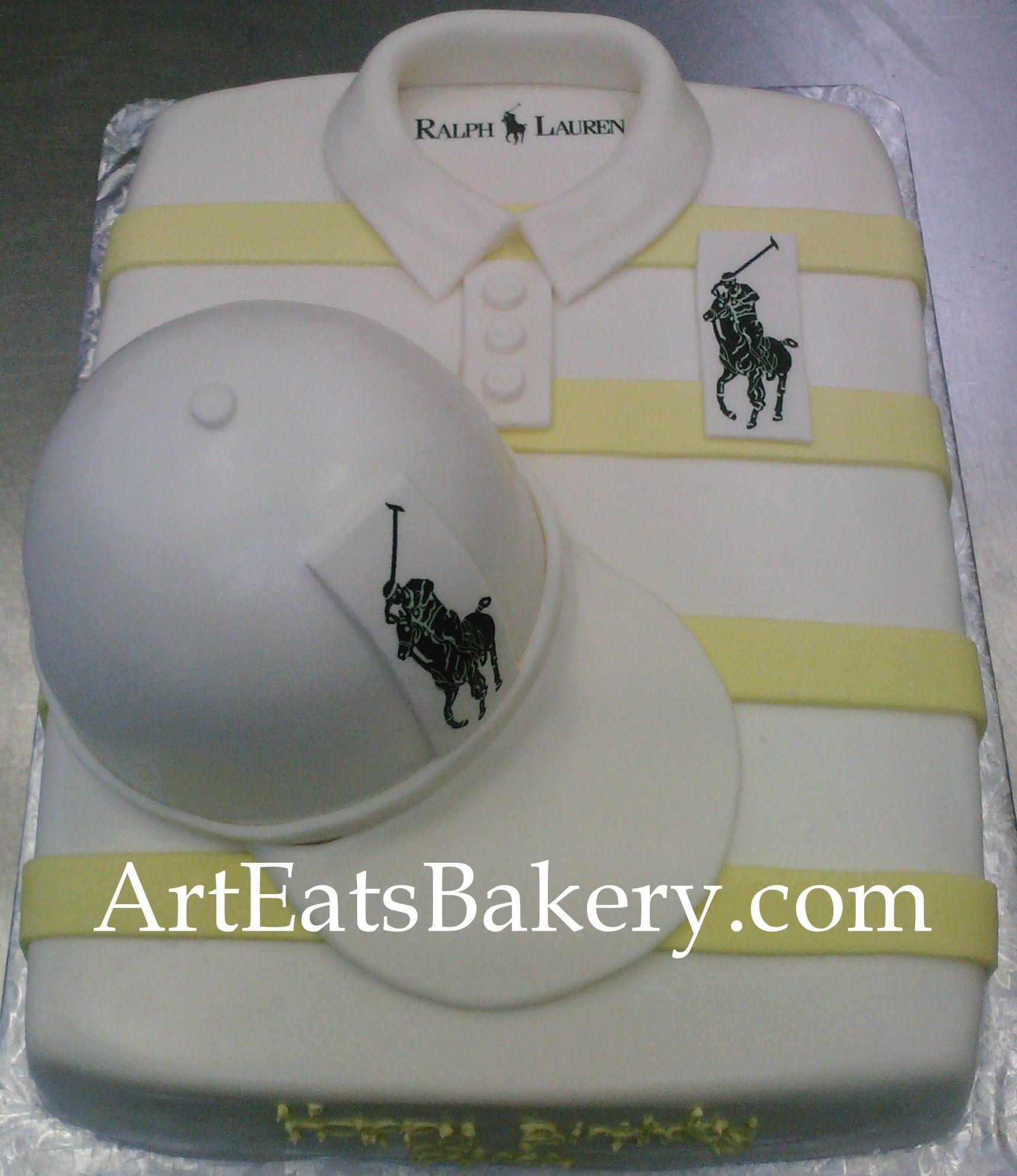 Mens White And Yellow Striped Polo Shirt Birthday Cake Design - Birthday cake shirt