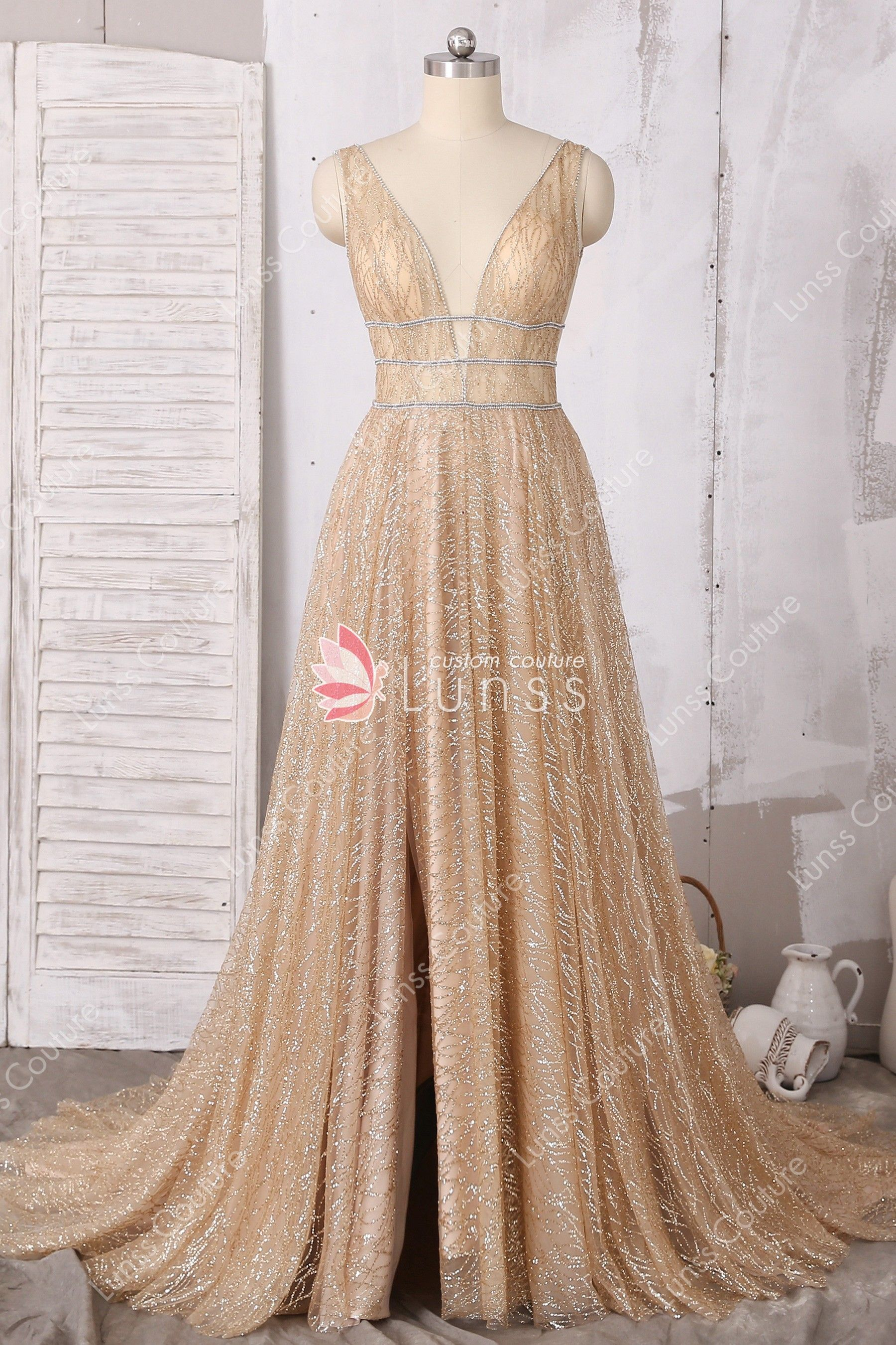 d2406066664 Dazzling Custom Gold Sleeveless Plunging Neck A-line Prom Dress in ...