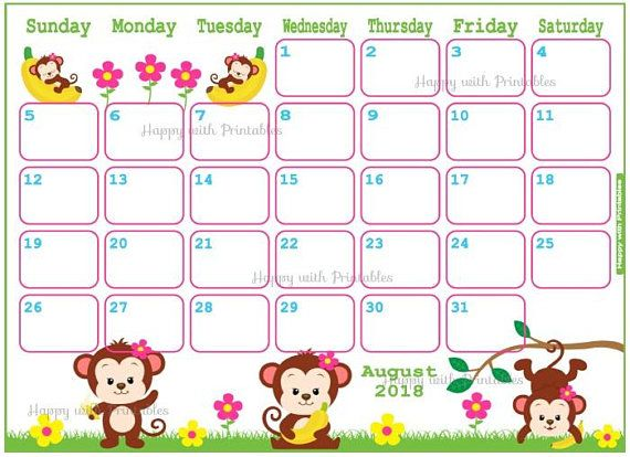 Calendar August 2018 - Monkey Planner Printable - Cute Planner - MIX