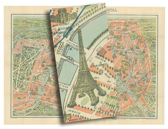Old Map Of Paris Showing All The Major Monuments From The Etsy Old Map Paris Map Printable Wall Art