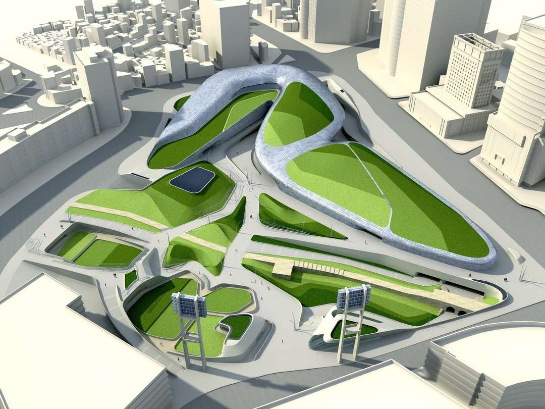 Zaha hadid s seoul design park urban oasis or metallic for Famous garden designs