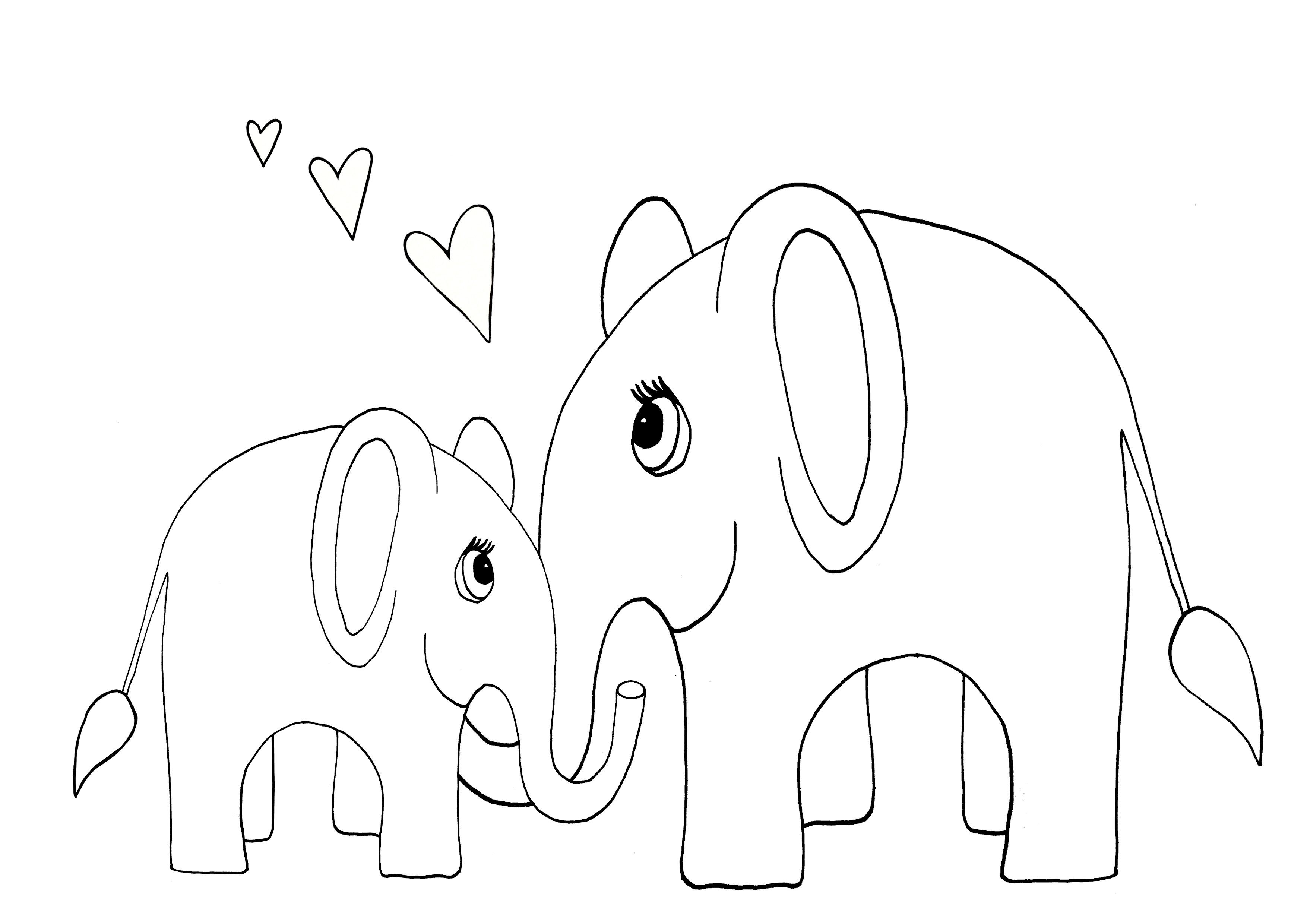 Mommy And Baby Elephant Coloring Page Elephant Coloring Page Kids School Supplies Homeschool Preschool Activities