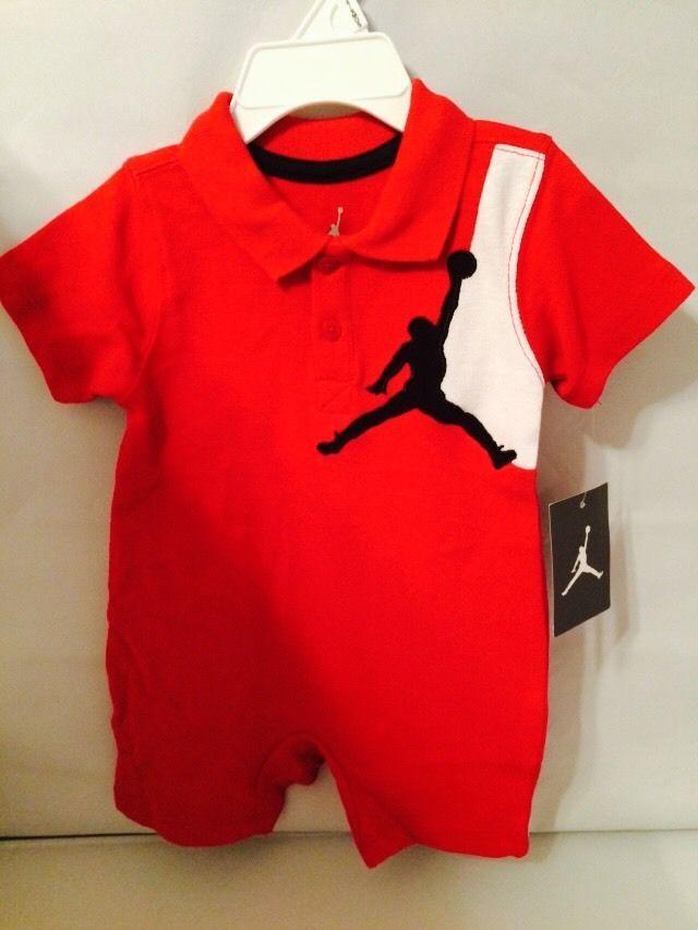 51e81215eb21 NWT Nike Baby Boys Jordan Jumpmen Red Romper 6-9 Months Retail  34  Nike