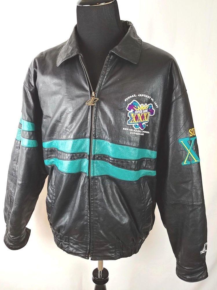 d4012f90c Team NFL Super Bowl XXXI 31 Mens XL Leather Jacket New Orleans Packers  Patriots  LogoAthletic  FlightBomber