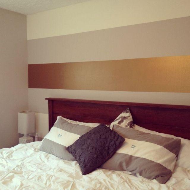 luxuriöse wandfarbe für schlafzimmer-goldener streifen samtig, Schlafzimmer entwurf