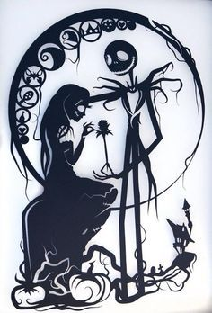 Nightmare Before Christmas Silhouette Handcut Paper Craft | Ideias ...