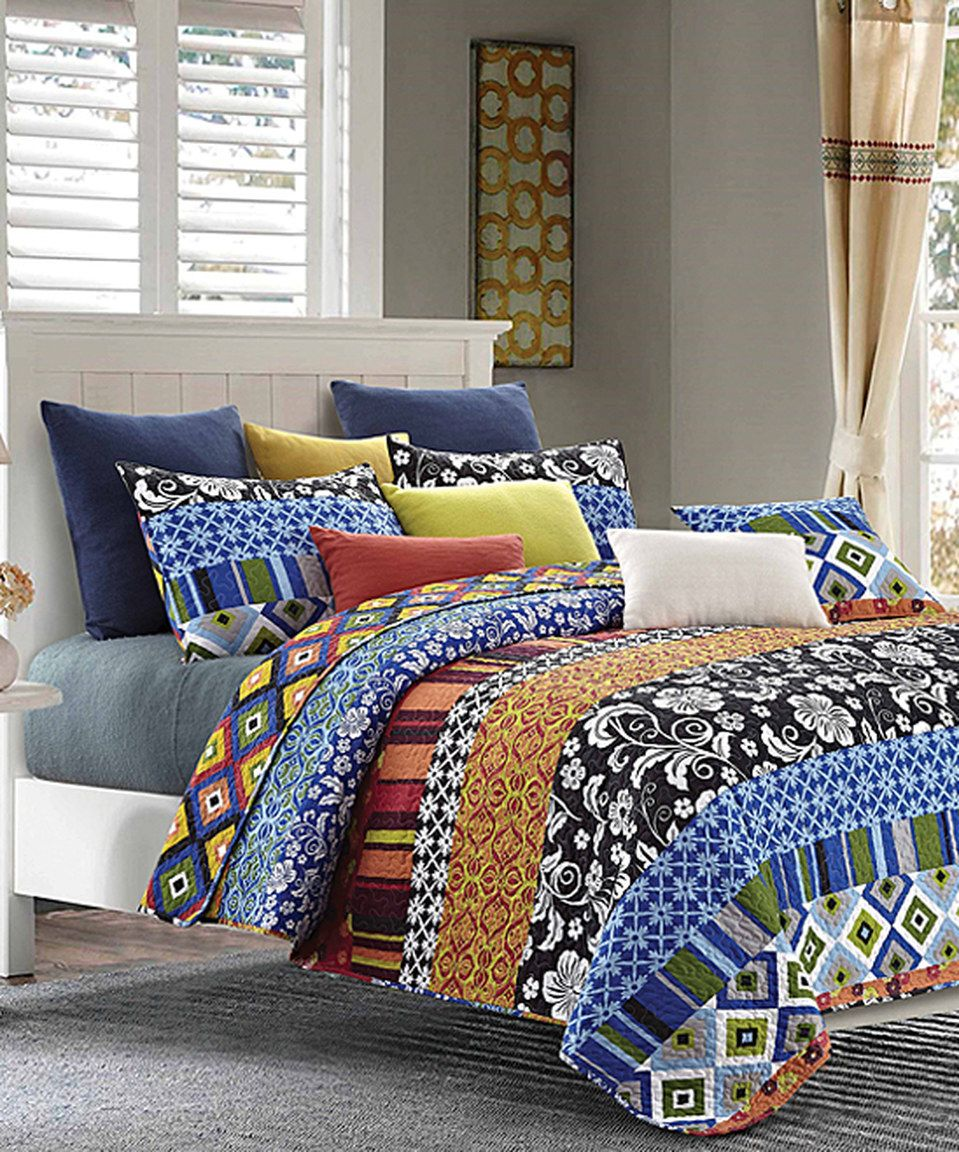 Look What I Found On Zulily Stripe Quilt Set By Duke Imports Inc Zulilyfinds With Images Quilt Sets Striped Quilt Pretty Bedding