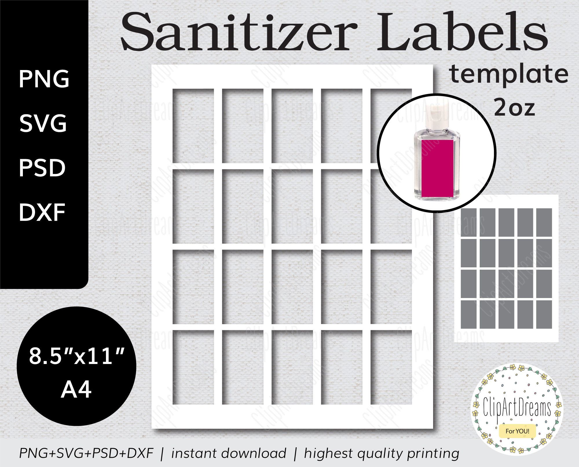 Hand Sanitizer Label Template For Purell 2oz Instant Download Etsy In 2021 Label Templates Hand Sanitizer Gift Tag Template Hand sanitizer label template free