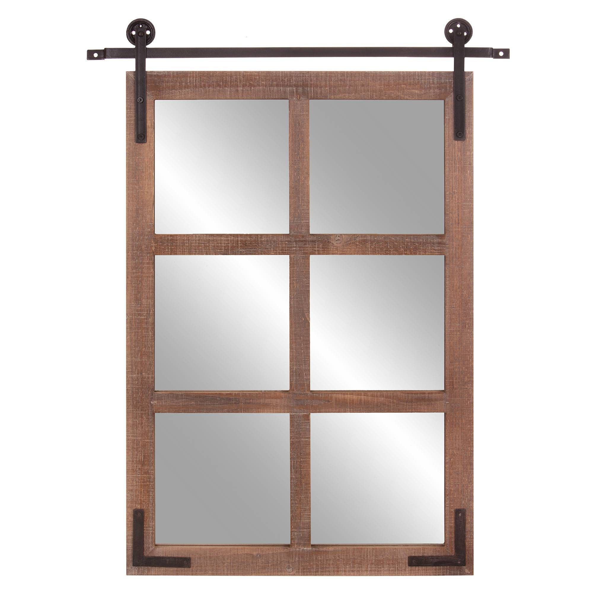 30 X 36 Sliding Barn Door Window Wall Mirror Wood Black Patton Wall Decor In 2020 Farmhouse Mirrors Window Wall Wood Windows