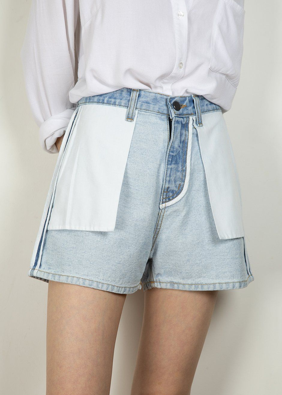 5039b5548994 Inside Out Faded Blue Denim Shorts in 2019 | Ss19 like | Denim ...