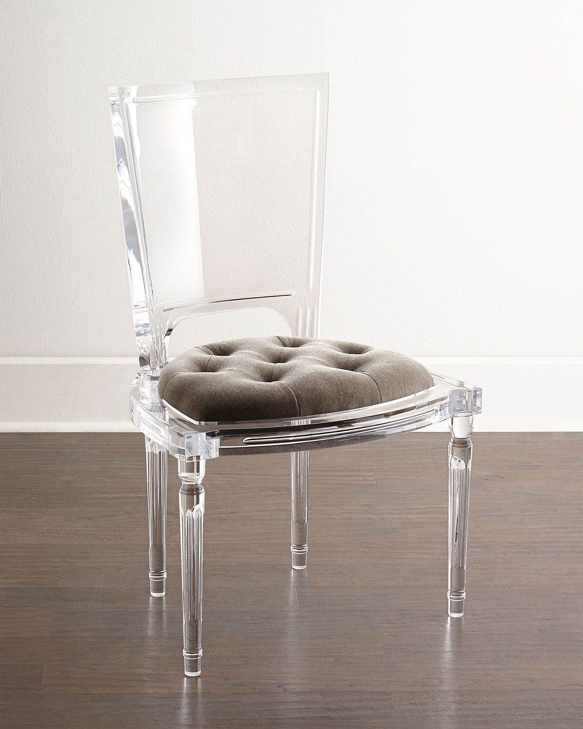 acrylic side chair with cushion cushions home depot has an frame and a tufted seat made of mohair polyester blend 23 5 w x 20 d 38 t in italy