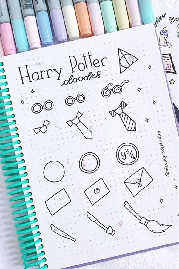 Harry Potter Doodles For Bullet Journal Inspiration In 2020