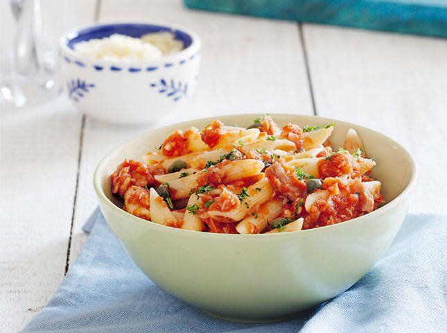 This chunky pasta of tuna, tomatoes, and capers is so robust but a snap to make.