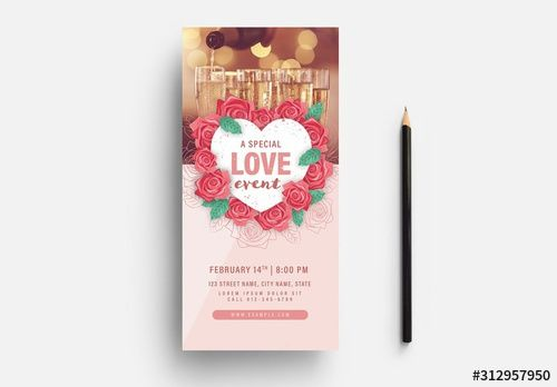 Photo of Valentine's Day Event Flyer Layout with Floral Heart Wreath Illustration. Buy this stock template and explore similar templates at Adobe Stock
